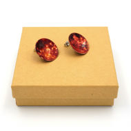Copper Post Earrings with Box - Side