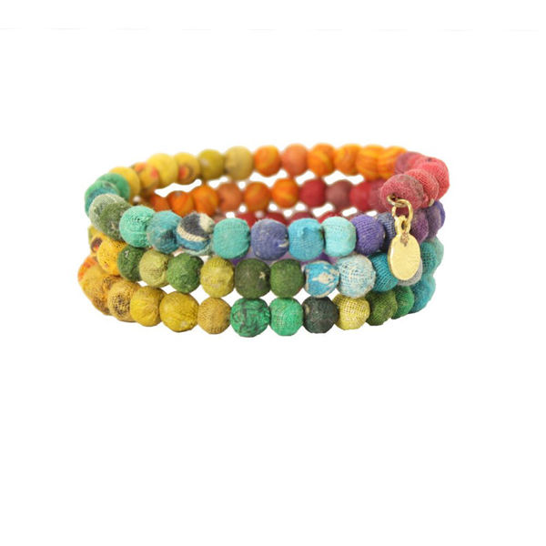 Kantha Bead Rainbow Bracelet