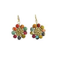 Kantha Bead Sunflower Earrings