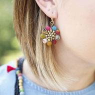 Kantha Bead Sunflower Earrings - model