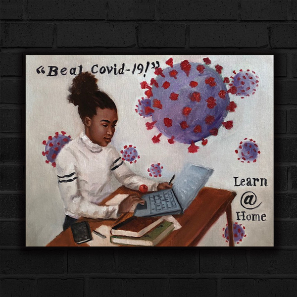 Jerry Jordan's Learn At Home Poster featuring a young black girl at a table full of books and computer looking engaged in her studies