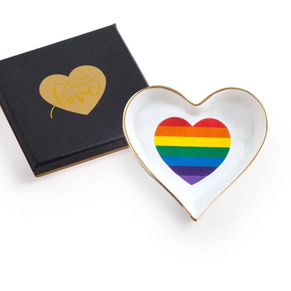 Rainbow Heart Porcelain Dish