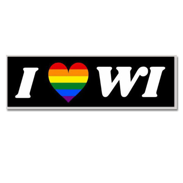 Wisconsin Heart Bumper Sticker