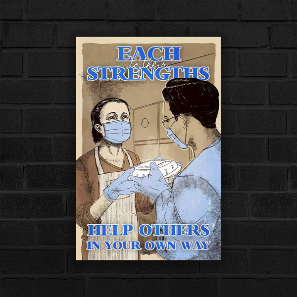 To Each Their Strengths by Jolyn Sandford Poster, featuring an Asian woman handing food to a dark haired person, lots of blues, reminiscent of WWII Nursing Posters