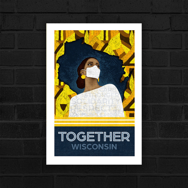 A navy Wisconsin surrounded by yellow and brown geometric shapes with a black woman looking off into the distance wearing a mask. Together Wisconsin by Becca Bryant