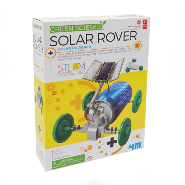 Solar Rover Kit- Front of box showing blue rover with green wheels and solar panel on top. In front of a yellow background.