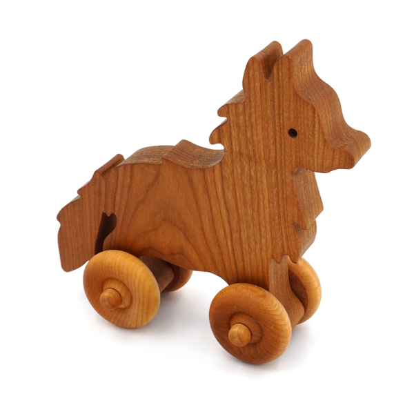 Handcrafted Wooden Fox Push Toy