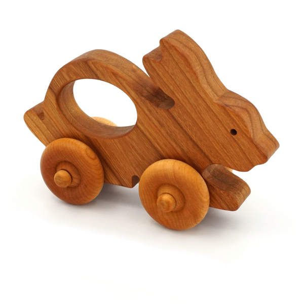 Handcrafted Wooden Bunny Push Toy