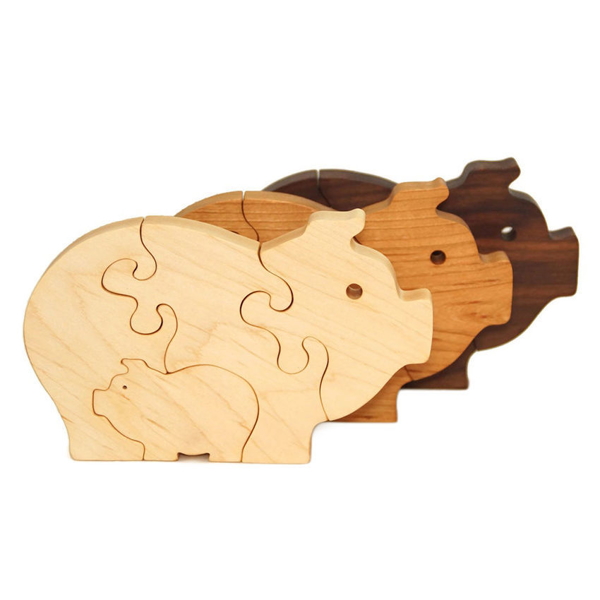 Handcrafted Wooden Pig Puzzles