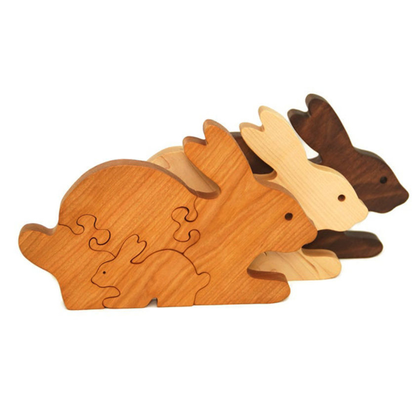 Handcrafted Wooden Bunny Puzzles