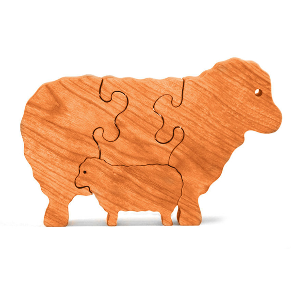Handcrafted Wooden Sheep Puzzle