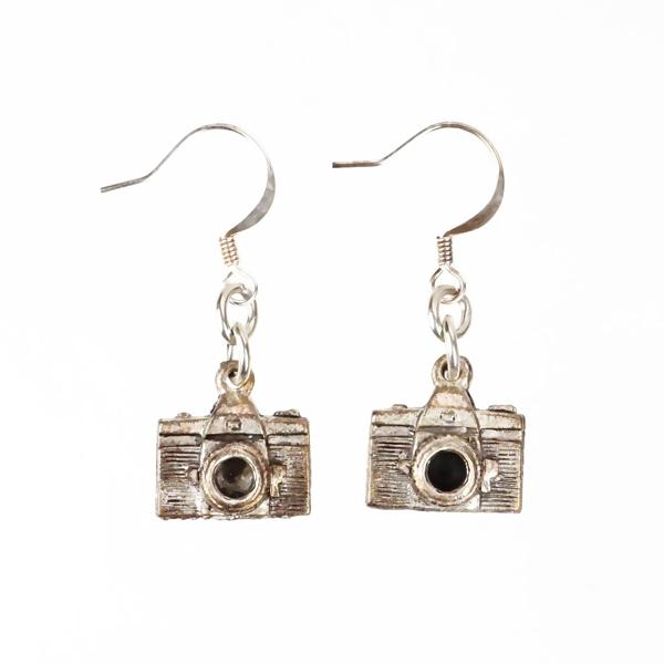 two shepherd hook camera earrings, silver in color