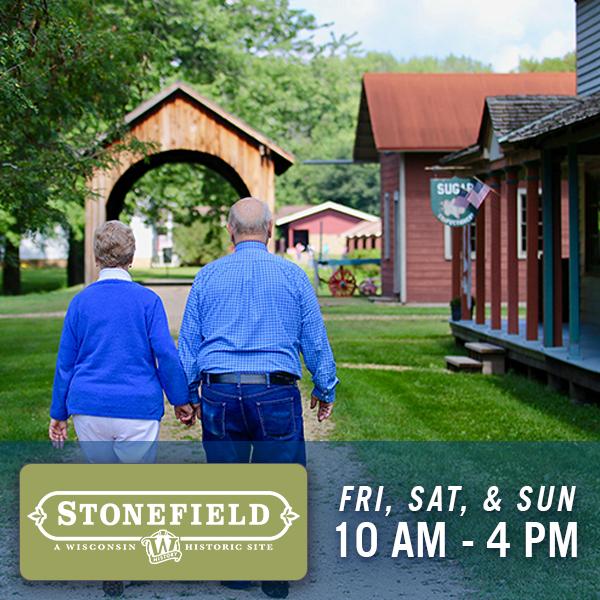 Stonefield, Fri, Sat, & Sun, 10 am - 4 pm