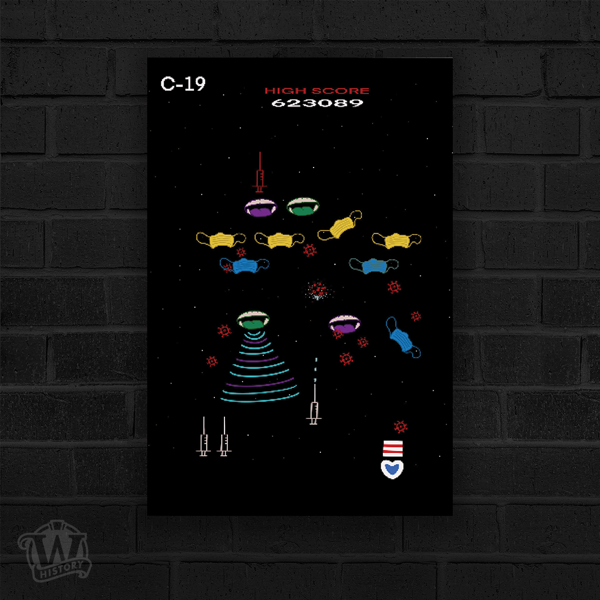Covid-19 poster by Jay Ramirez using a vintage video game theme to create the imagery of a virus being defeated by a vaccine and other safety measures. Featured are several pixelated face masks, coronus viruses, and syringes on a black background.