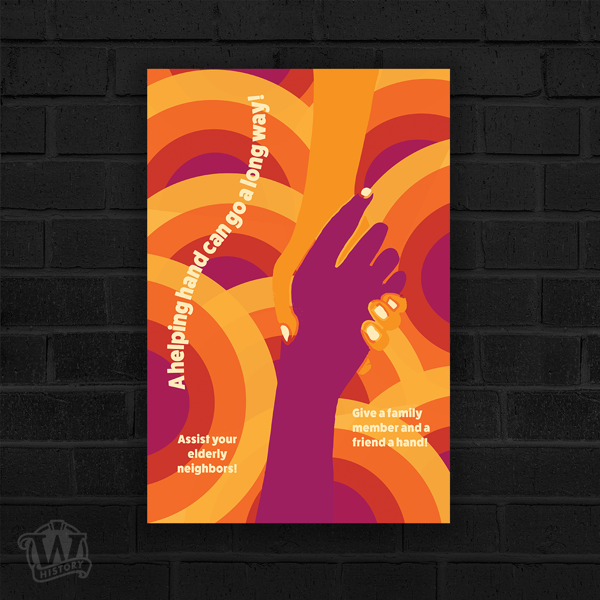 """Illustration showing two hands clasped, one purple, one orange. The background is overlapping concentric circles in orange and purple tones. Textual component says """"A helping hand can go a long way."""""""