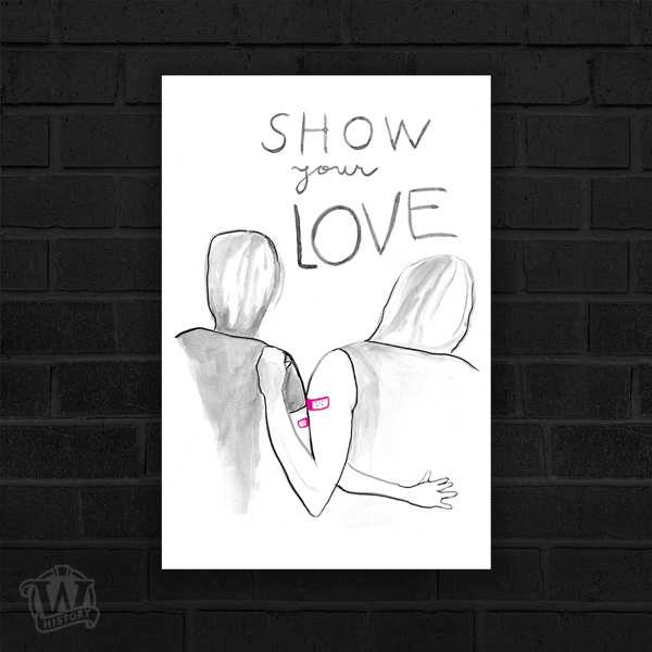 Show Your Love- Black and grey human silhouettes embracing arms together. Pink bandaids on each other's arms.