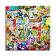 Gems and Fish 1000 Piece Puzzle Cover. Vibrantly colored fish and sea creatures swimming on ocean floor.