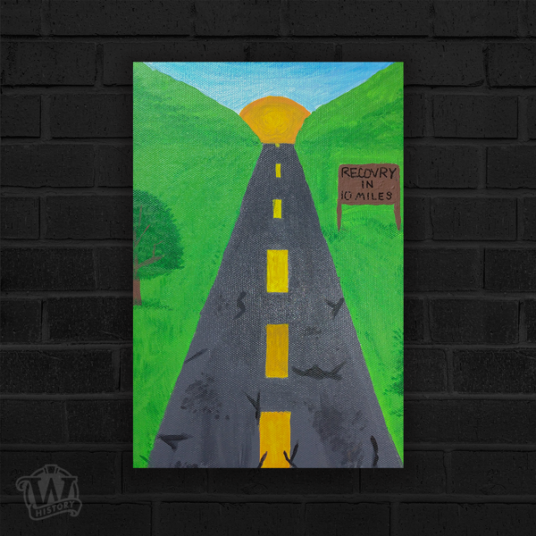 """Black paved road heading straight toward sun over the horizon. Greenery to either side of road. Road sign reads """"Recovery in 10 miles""""."""