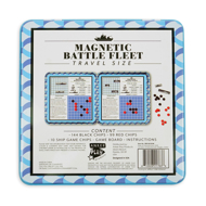 Magnetic Battlefield Fleet Game back of tin box with picture of open game and information about content.