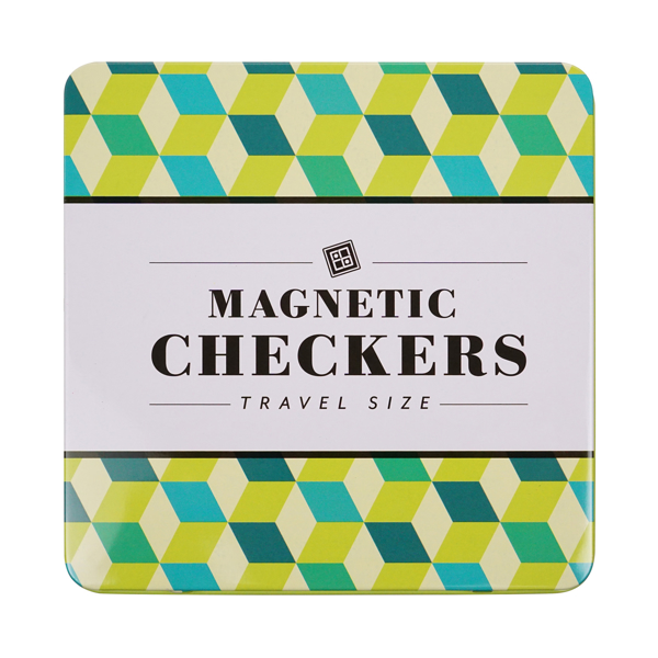 Magnetic Checkers Travel Size printed in bold black with blue and green geometrically patterned rhombuses in background,