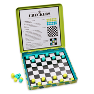 Magnetic Checkers Open. Checkers instructions on upper half and the black and white checkered board with light blue and light green checker pieces.