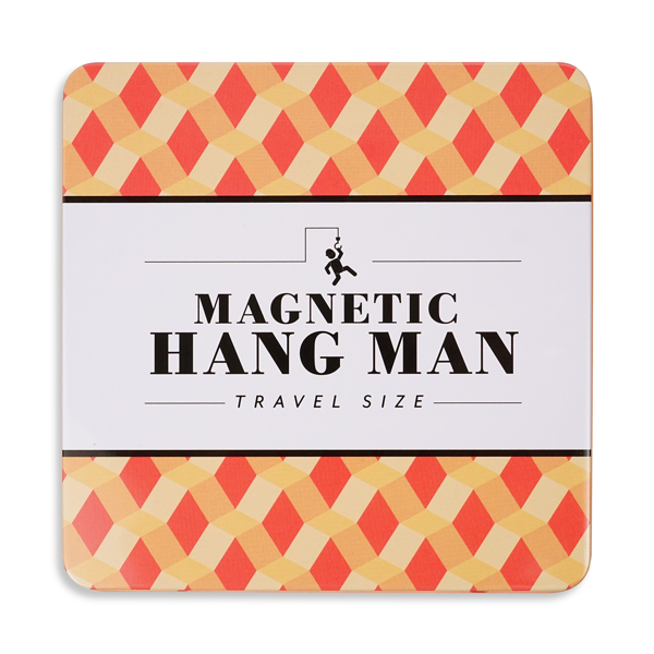 Magnetic Hangman Travel Size printed in bold black with a orange and yellow geometric pattern in background.