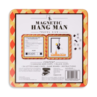 Magnetic Hangman Travel Size back. Includes instructions to play the game, blank spaces for letters in a word, and then hangman outline on right half.