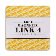 Magnetic Link 4 Travel Size printed in bold black with a light and dark yellow geometric pattern in background.