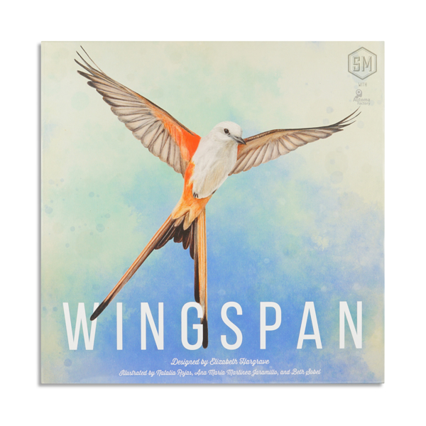 Wingspan game box.  One bird in flight with sky in background.