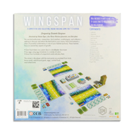 """Wingspan game box, back of box.  Game cards and pieces and description of game """"A competitive bird-collection, engine-building game for 1-5 players."""""""