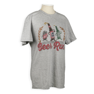 """Gray T-shirt with caricature beer bottles with arms and legs. Text under illustration reads """"Beer Run."""""""