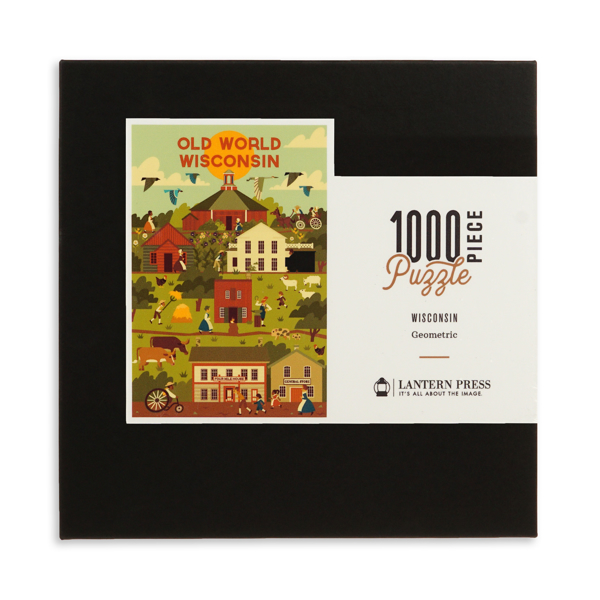 Puzzle box with illustration of farm scene with geometric field patterns, barn, and farm house.