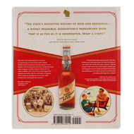 Back cover of The Drink that Made Wisconsin Famous with image of beer bottle and praise for the book from other authors.