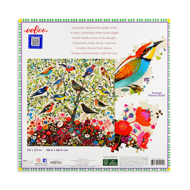 Back of puzzle box showing completed puzzle with image of colorful birds in a tree and some individual puzzle pieces.