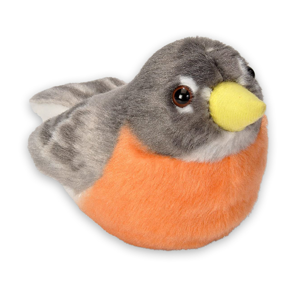 Small stuffed American robin toy with orange breast and grey wings and head.