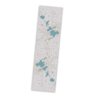 Microfiber scarf with image imprint of main streets and lakes of Madison, Wisconsin. Off-white with light blue lakes.