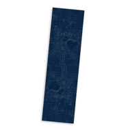 Microfiber scarf with image imprint of main streets and lakes of Madison, Wisconsin. Dark blue background with white streets.