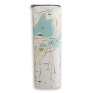 Side view of Madison Lakes thermal travel mug. Off-white background with street lines and light blue lakes.