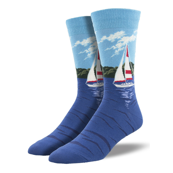 blue socks with sailboats on the side.